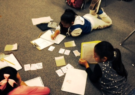 Highly engaged Jane Long 4th graders in math stations